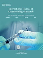 International Journal of Anesthesiology Research